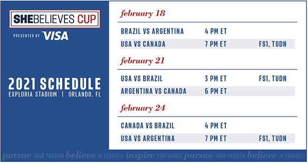 2021 She Believes Cup Schedule